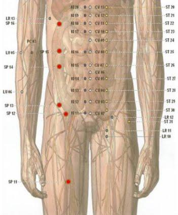 Terapi   Meridien    Limpa  Untuk  Masalah   Hernia,   Muntaber,   Gangguan   Pencernaan dan Gangguan Pada Jantung, Perasaan Lemah, Nyeri Iga (SP.11-21)