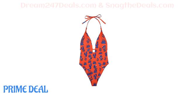 65% OFF  Neckline Halter Monokini Swimsuit