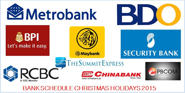 LIST: Bank Schedule for Christmas Holidays 2015, New Year