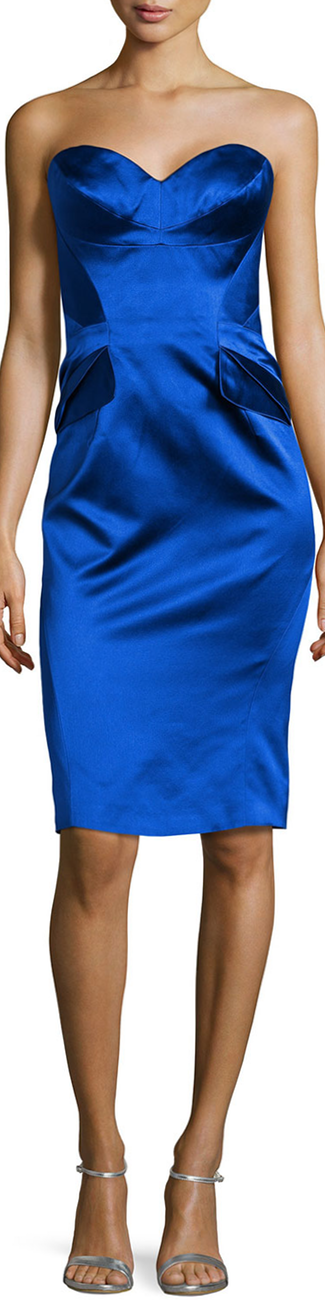 Zac Posen Strapless Split-Peplum Cocktail Dress, Cobalt