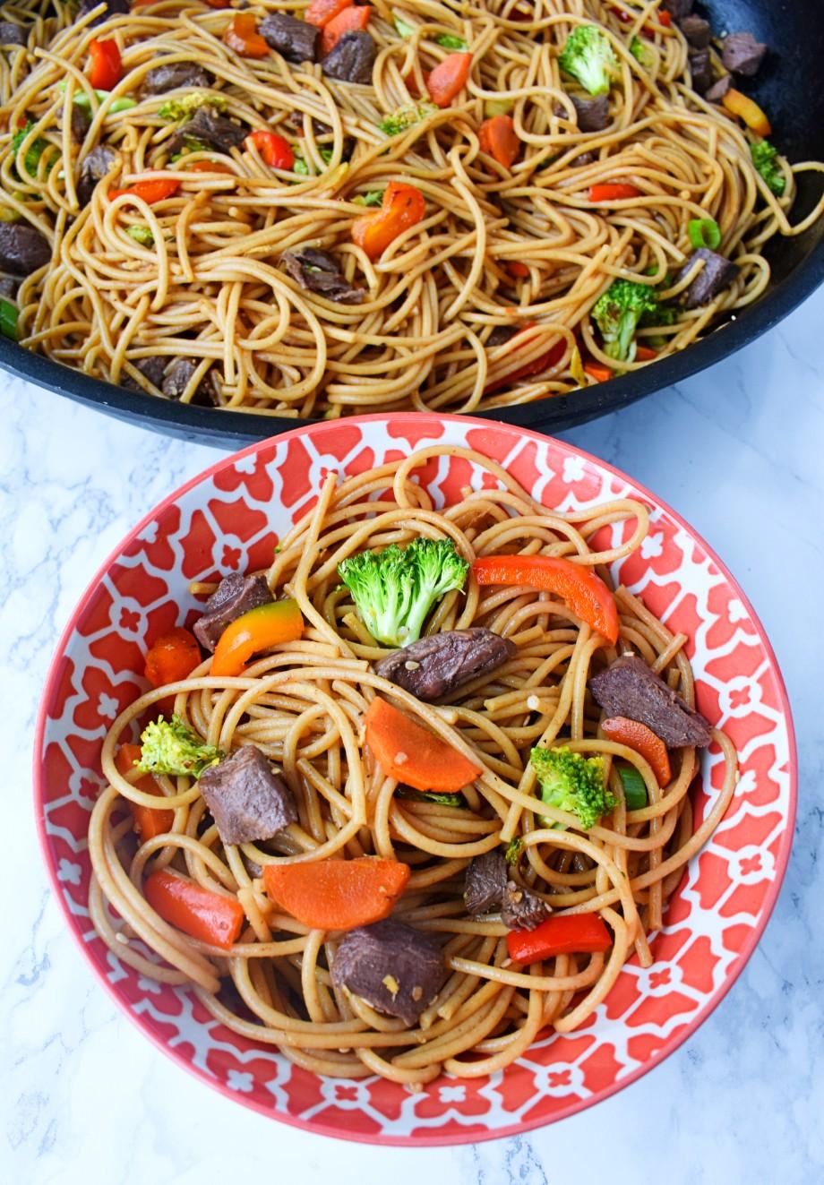 bowl of steak stir fry noodles