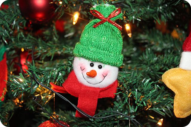 Decoração da Árvore de Natal : Boneco de Neve de Feltro
