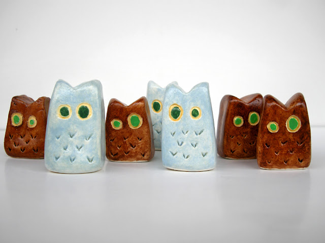 miniature clay owls