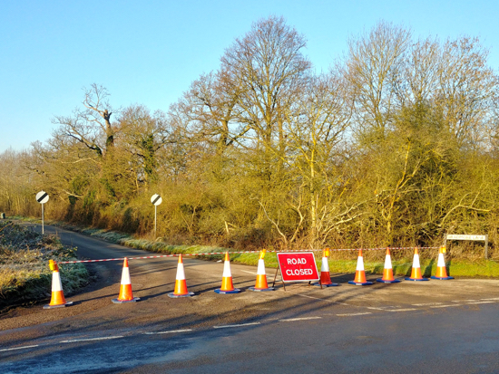 Bradmore Lane closed following fly-tipping  Image © North Mymms News released under Creative Commons BY-NC-SA 4.0