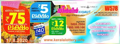 Kerala Lottery Results Today 17.08.2020 Win Win W-578 Result