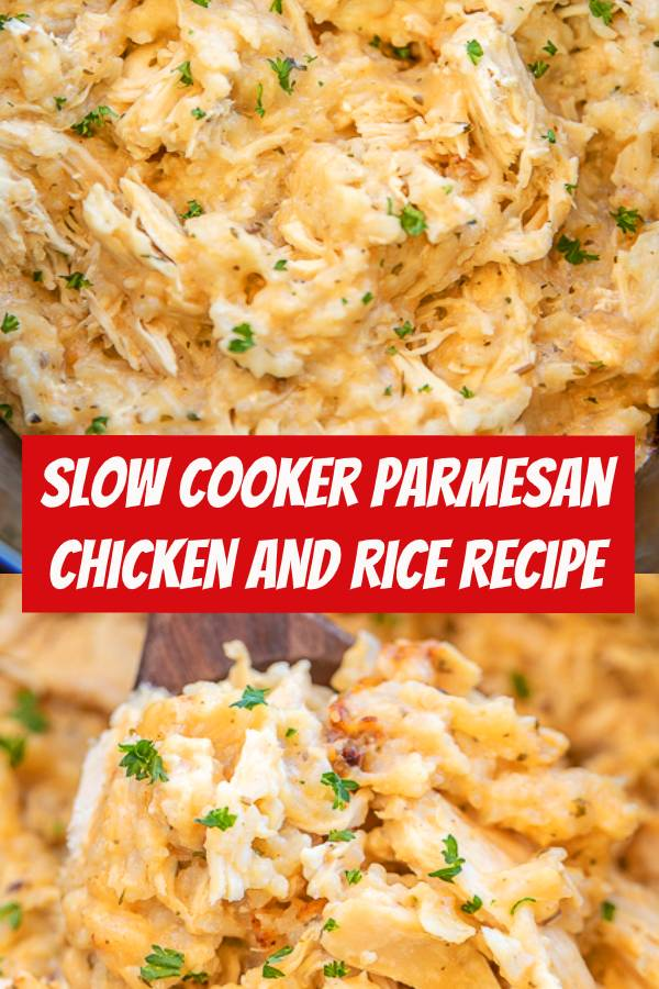 Slow Cooker Parmesan Chicken and Rice - a quick and easy weeknight recipe! Just dump everything in the slow cooker and dinner is done! Only 5 ingredients - chicken, Lipton's Garlic Soup mix, cream of chicken soup, milk and rice. Can add some mixed veggies too! Everyone cleaned their plate! Leftovers taste great too! YUM! #easydinner #slowcooker #chicken #parmesan #dinner