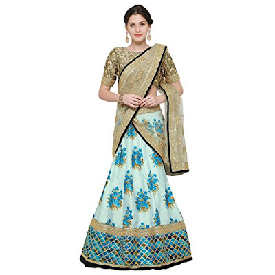Zeel Clothing Botanical Flower Butta Printed Lehenga with Heavily Embroidered Blouse