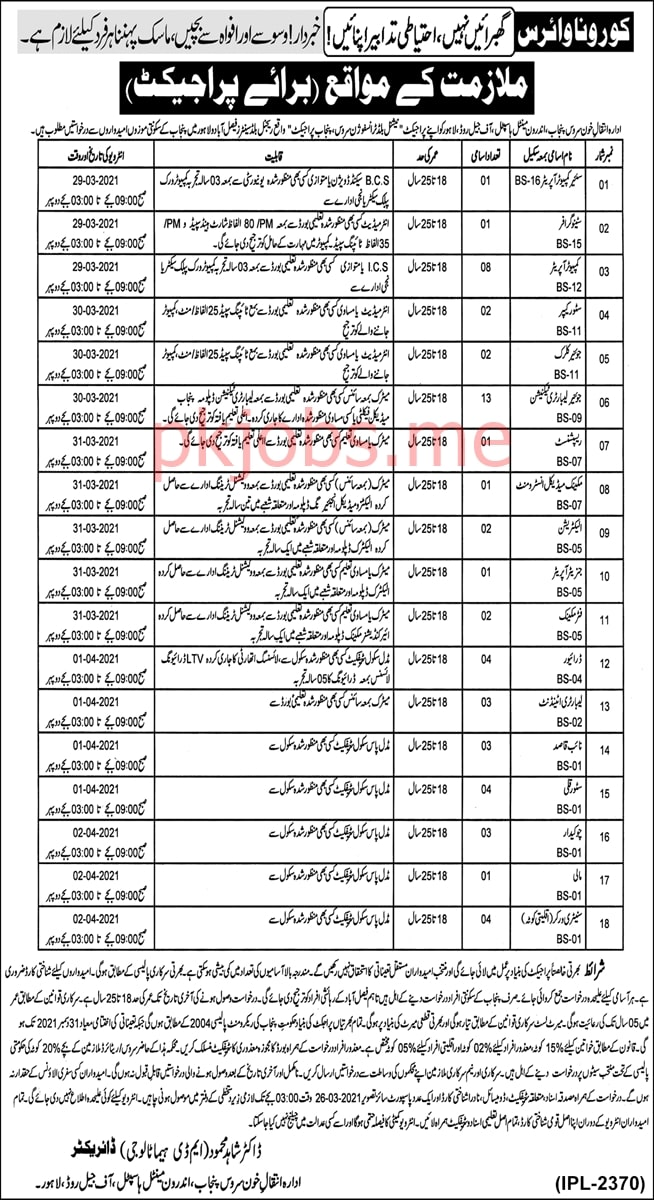Latest Institute of Blood Transfusion Service Punjab Management Posts 2021