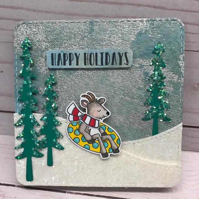 Happy Holidays by Vicki Lynn features Floaty Goat, Frames Squared, and Forest Scene Builder by Newton's Nook Designs; #newtonsnook
