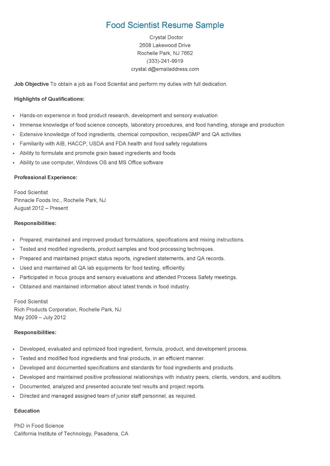 resume samples  food scientist resume sample