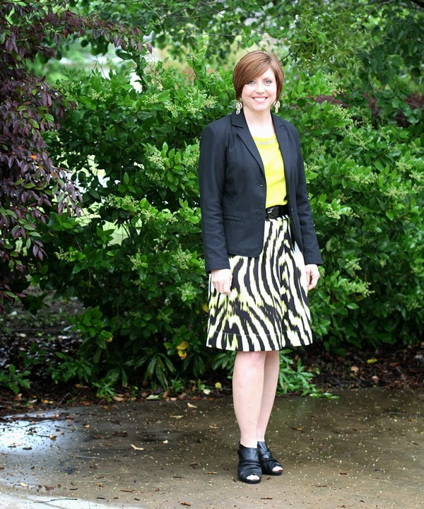Chartreuse print skirt- four ways