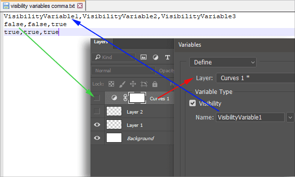 Visibility variables as external data set