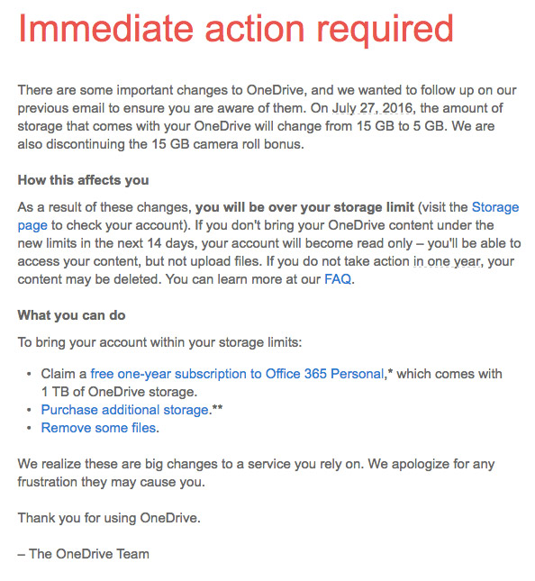 OneDrive storage spcae reduction from 15GB to 5GB