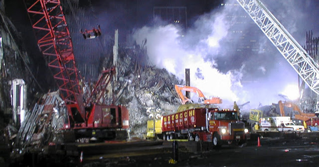 A lot of construction equipment and heavy debris from Ground Zero.