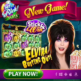 Elvira Busting Out at Hit It Rich Slots ad