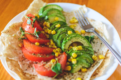 sliced-tomato-and-avocado-on-white-plate
