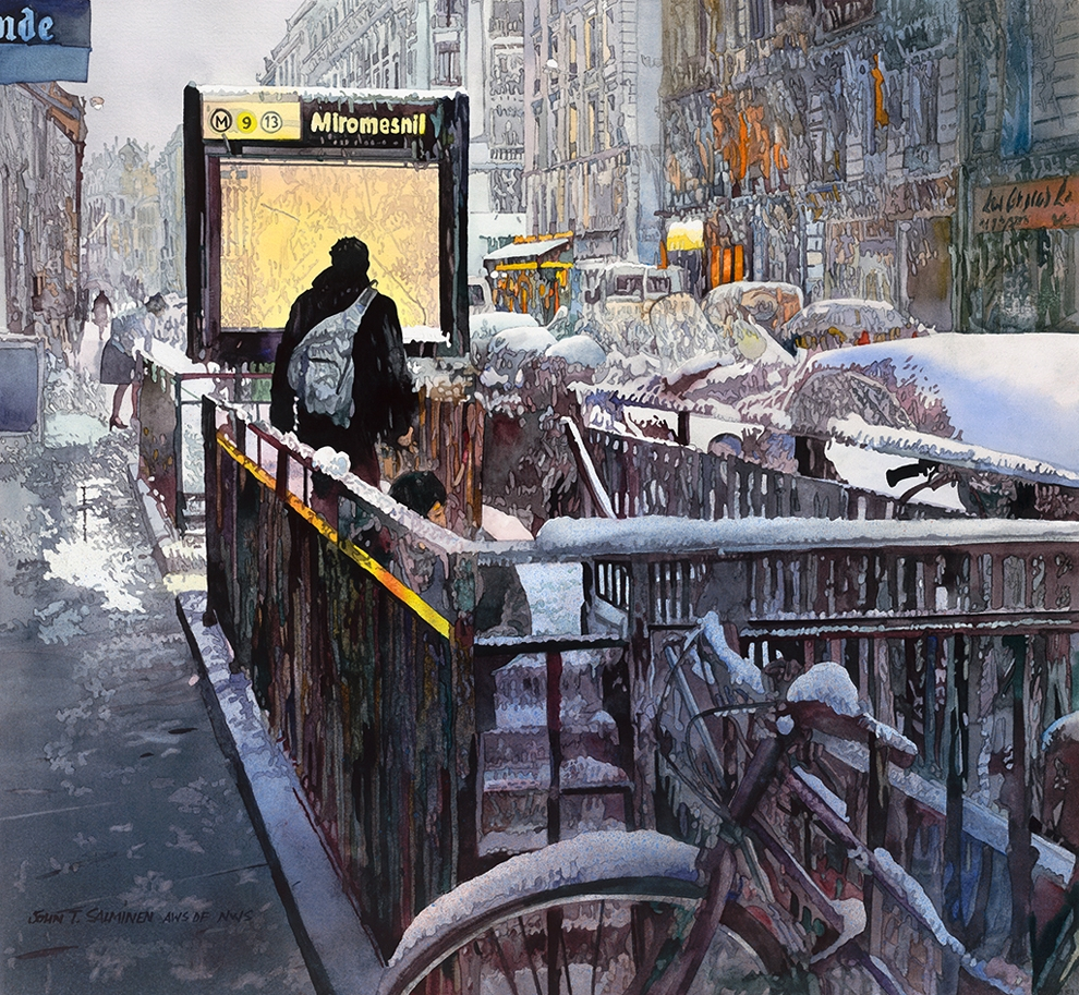22-Winter-Metro-John-Salminen-Watercolor-Paintings-Taking-Glimpses-into-our-Life-www-designstack-co