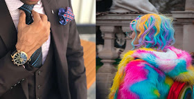 Half of the image is a man wearing a suit and another half is a woman wearing a colourful coat with bright hair
