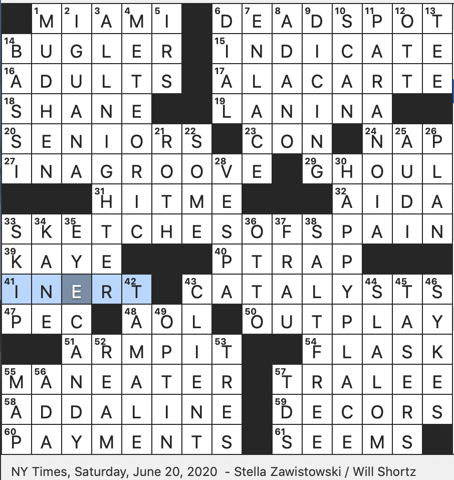 Rex Parker Does The Nyt Crossword Puzzle 1949 Novel Set In Wyoming Territory Sat 6 20 20 Sicilian Town That Lost Bell To Fascists In Literature 1960 Miles Davis Album Inspired