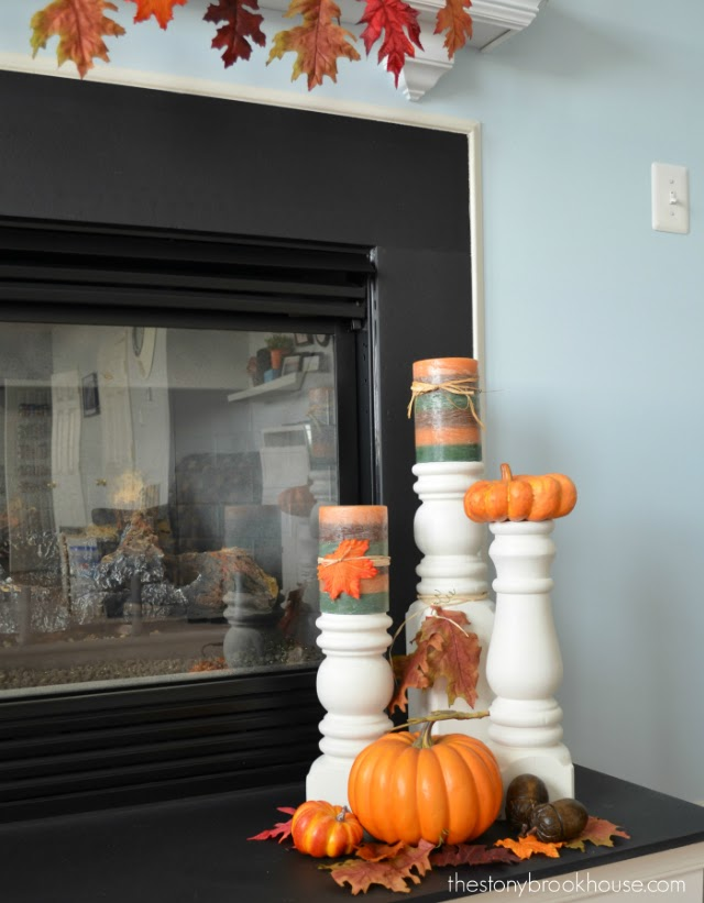 Fall Candlesticks decorated