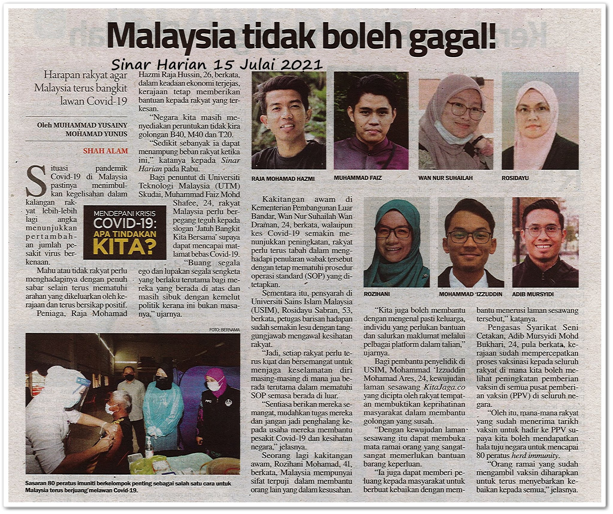 Malaysia tidak boleh gagal! - Keratan akhbar Sinar Harian 15 Julai 2021