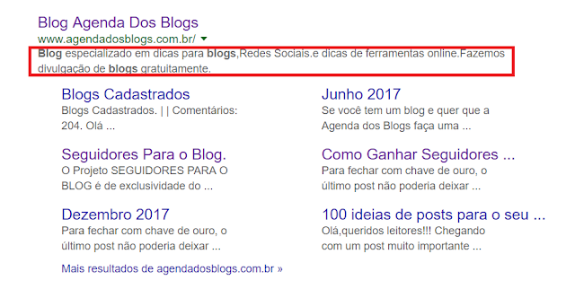 Metatag da Agenda dos Blogs