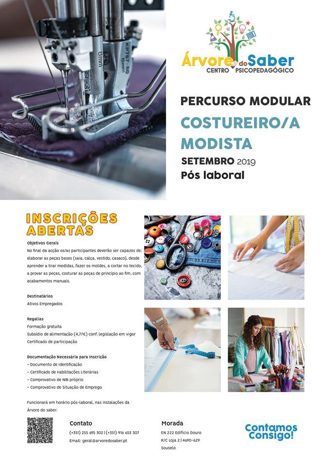 Curso gratuito de costureira(o) / modista em Souzelo (Viseu)