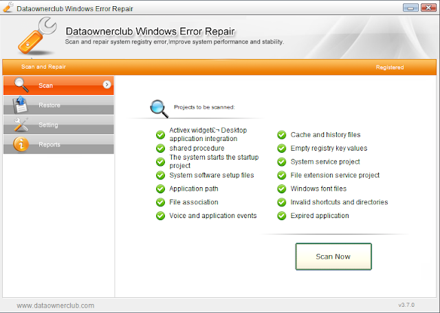 Screenshot Dataownerclub Windows Error Repair 3.7.0 Portable