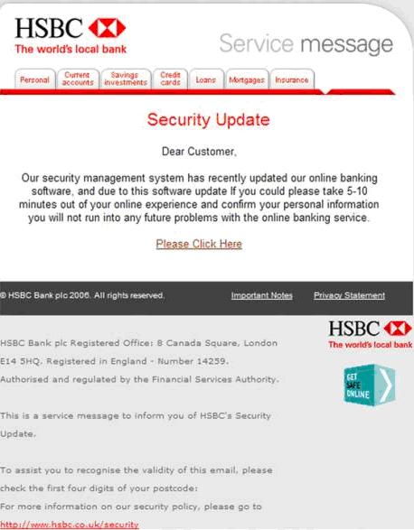 Phishing attack example