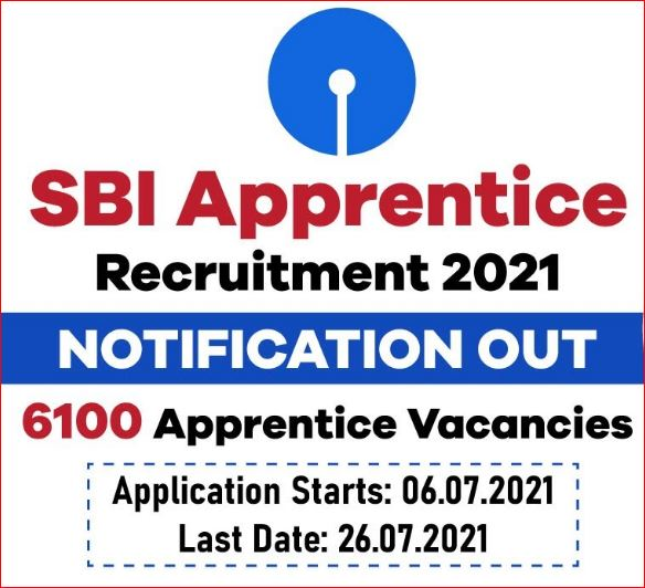 SBI Apprentice Recruitment Notification Out For 6100 Posts 2021 @sbi.co.in