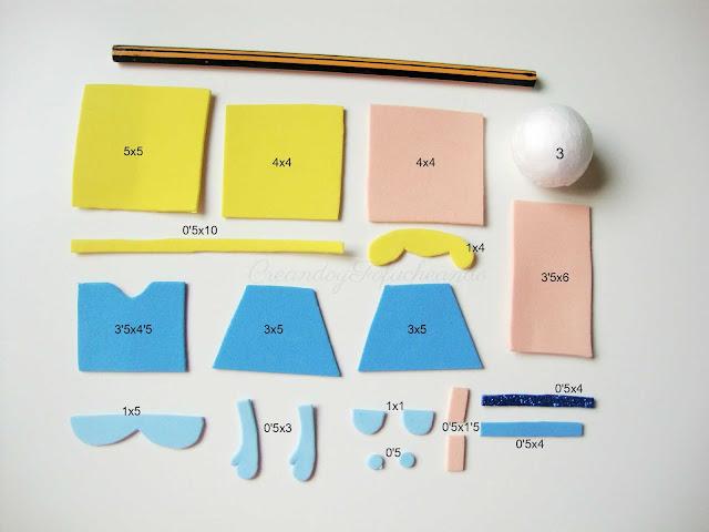 piezas y medidas para hacer fofulapiz de cenicienta paso a paso