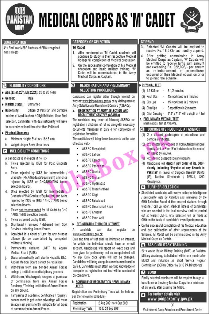 Join Pak Army Medical Corps as M Cadet Jobs 2021 – Apply Online