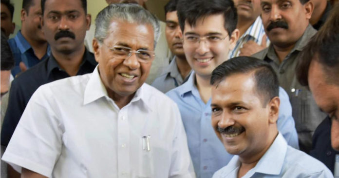 People's backlash for BJP's communalism and sedition Pinarayi Vijayan wishes Kejriwal,www.thekeralatimes.com