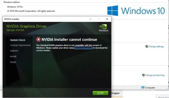 How to solve the NVIDIA driver issue after windows 10 update