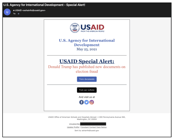 Phishing email appearing to come from USAID.