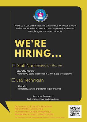Marian Medical Centre, Pala Hiring Staff Nurses and Lab Technician