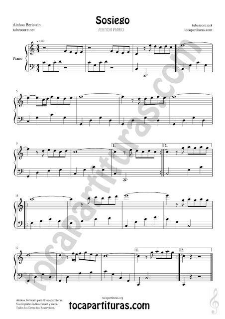 Partitura de Sosiego para Piano Principiantes en formato JPG gratis para su desgarga a continuación. Easy Sheet Music for Piano Quiet