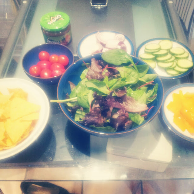 Salad, Doritos, dips