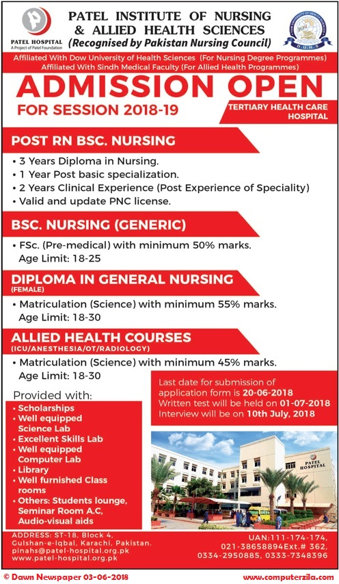 Patel Institute of Nursing & Allied Health Sciences Admissions Fall 2018