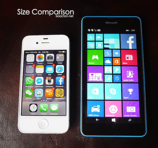 A size comparison between Microsoft Lumia 535 and my iPhone 4S