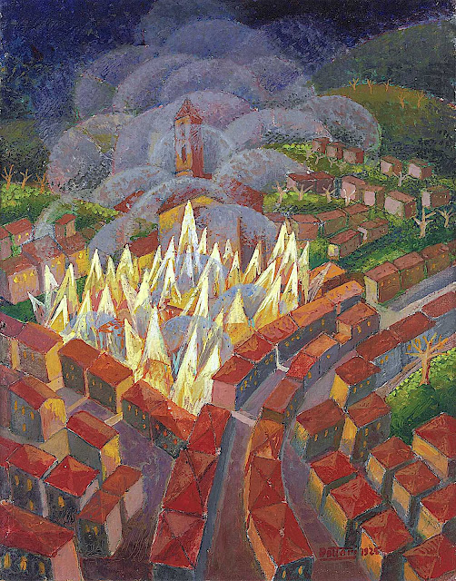 a Gerardo Dottori painting of a city on fire at night from a birdseye view