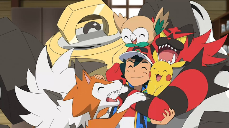 Ash com seus Pokémon de Alola