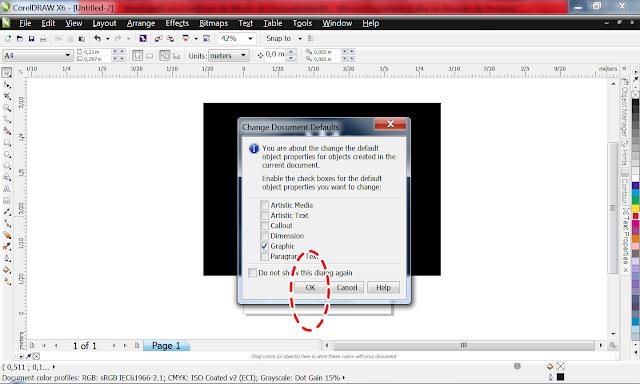 Clique com o botão direito do mouse na paleta de cor, no vermelho, para mudar de cor o contorno!  Clique em Ok, na janela que abrir.