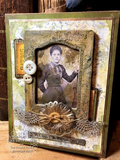 Sara Emily Barker https://sarascloset1.blogspot.com Vintage Mixed Media Card Tim Holtz Sizzix Crochet Burst 3D Impresslits 1