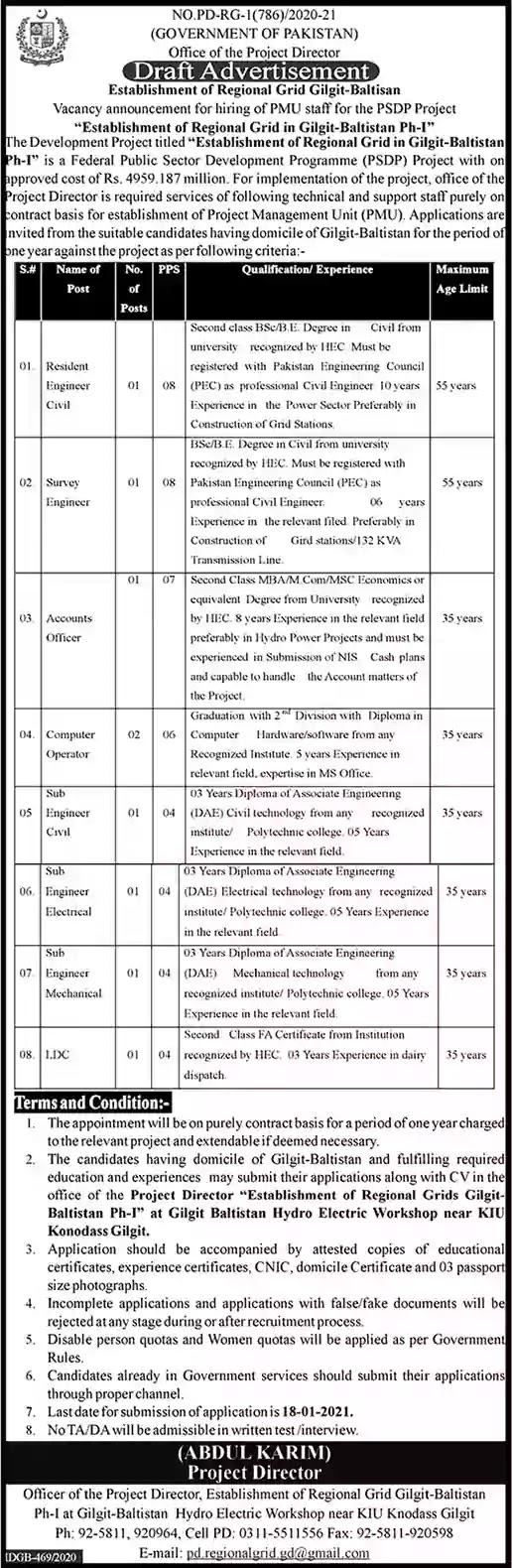 PSDP Gilgit Baltistan Jobs 2021 Regional Grid PMU Sub Engineers & Others Latest