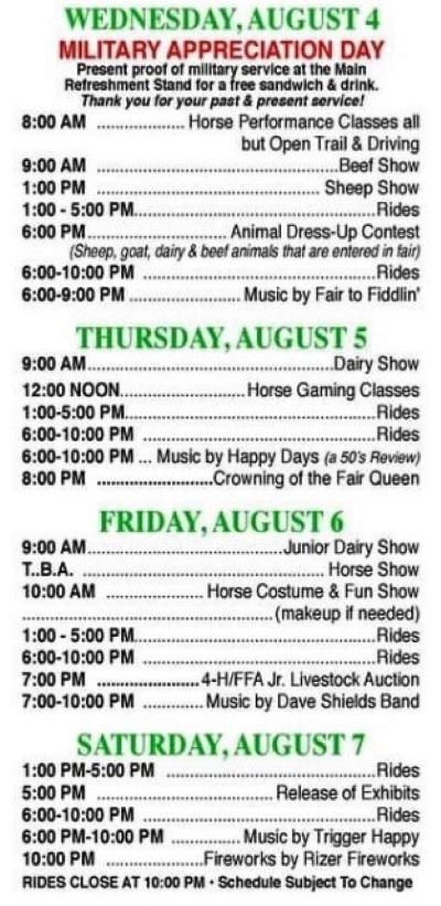 8-4/5/6/7 Potter County Fair, Millport, PA Schedule