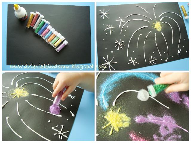 brokatowe fajerwerki kreatywna zabawa dla dzieci na nowy rok
