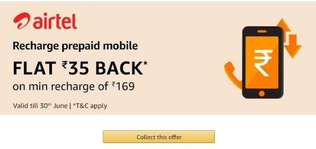 Amazon- Flat ₹35 Cashback On Airtel, Jio, Idea, Vodafone Recharges