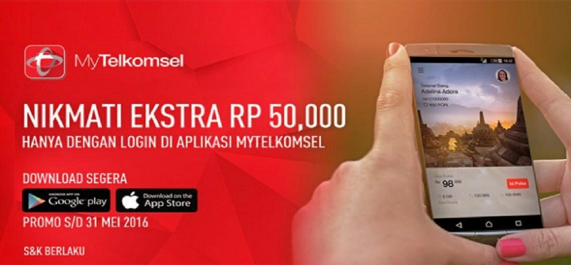 cara mendapatkan pulsa 50 ribu Aplikasi MyTelkomsel