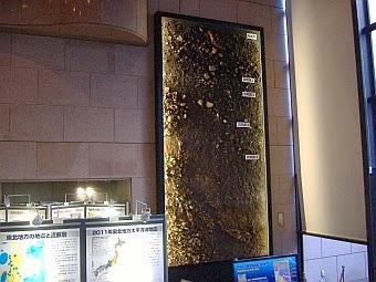 地質標本館にある岡谷断層の剥ぎ取り標本